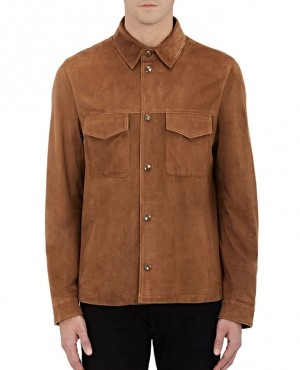 Men Stylish Chest Pockets Suede Leather Denim Jacket