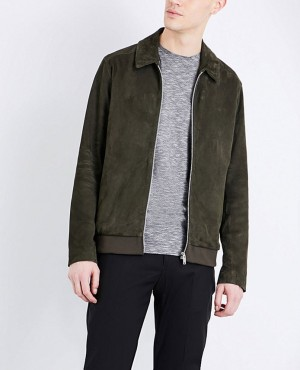 Men Stylish Collared Suede Leather Jacket