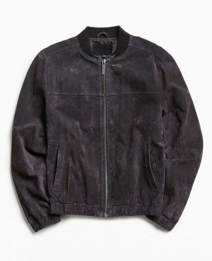 Men Suede Bomber Jacket with Bottom Elastic