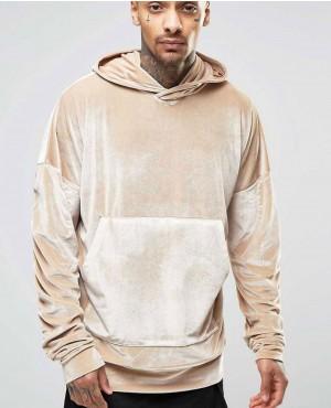 Men Velour Velvet Pullover Hoodie
