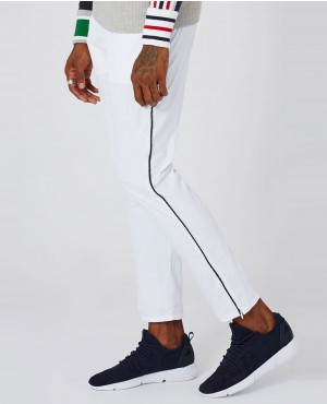 Men White Piping Shell Jogger