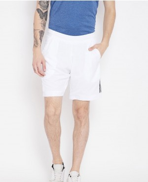 Men White Solid Club Shorts
