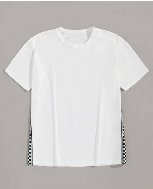 Men White T Shirt Side Woven Tape