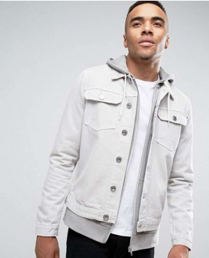 Men Denim Jeans Jacket In Stone