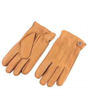 Men Fashion Deerskin Gloves Button Wrist Solid Genuine Leather