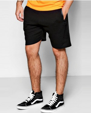 Mid Length Ribbed Jersey Shorts