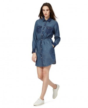 Mid Long Style Denim Cotton Women Long Sleeve Shirt