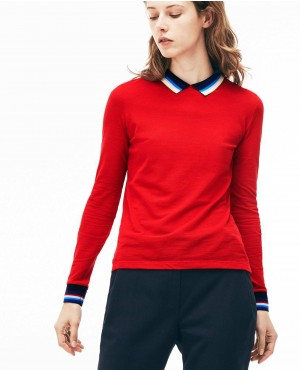 Most New Style Women Slim Fit Polo With Striped Ribbing