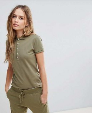 Most Popular Army Green Color Polo Shirt With Bottons