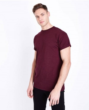 Most Popular Burgundy Rolled Sleeve T Shirt