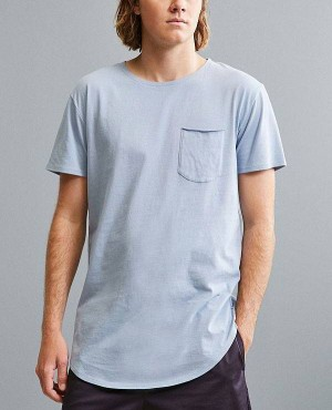 Most Popular Curved Hem Sky Blue T Shirt With Pocket