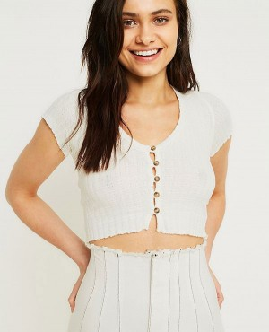 Most Popular Short Sleeve Button Through Crop Top
