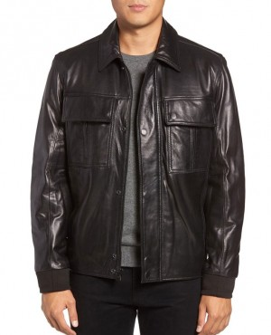 Most Selling Custom Leather Collar Fashion Jackets with Chest Pocket