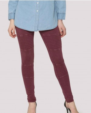 Moto Seam Detail Acid Wash Leggings