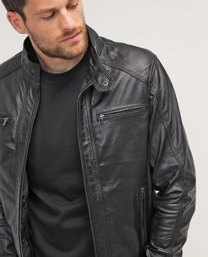 Moto Slim Fit Fashion Faux Leather Jacket Men