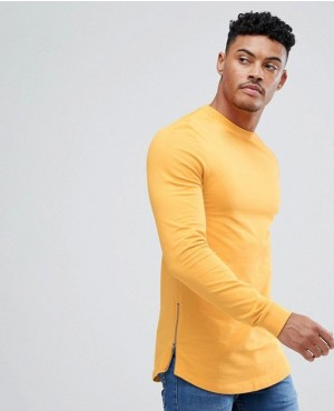 Muscle Longline Sweatshirt With Side Zips