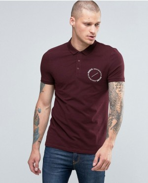 Muscle Polo With Circle Text Chest Print In Oxblood