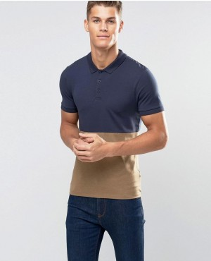 Muscle Polo With Contrast Navy Top And Brown Marl Bottom