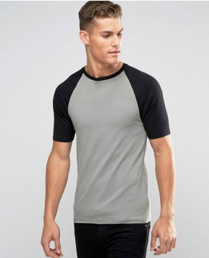 Muscle T-Shirt With Contrast Raglan Sleeves In GreenBlack