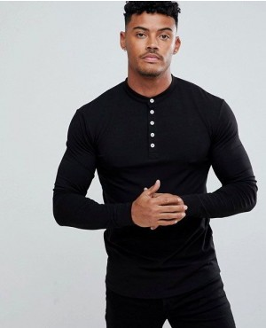 Muscles Gym Fit Long Sleeves Top In Dark Grey