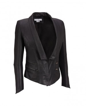Nappa Leather Blazer Zipper Pockets