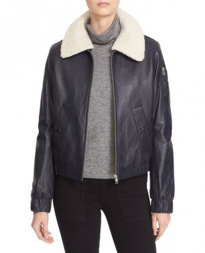 Nappa Leather Jacket with Removable Genuine Shearling Collar