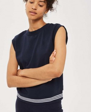 Navy Blue 3 Stripe Hem Tank Top