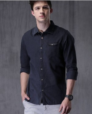 Navy-Blue-Slim-Fit-Solid-Casual-Denim-Shirt-RO-2357-20-(1)