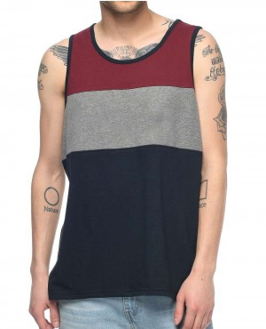 Navy Charcoal & Burgundy Tank Top