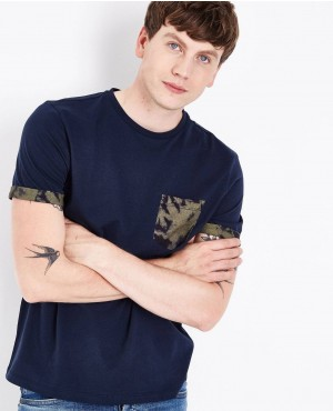 Navy Printed Pocket Popular Style T Shirt