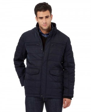 Navy Quilted Paneled Jacket