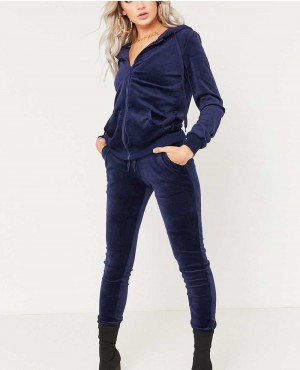 Navy Velour Velvet Zipper Hooded Tracksuit