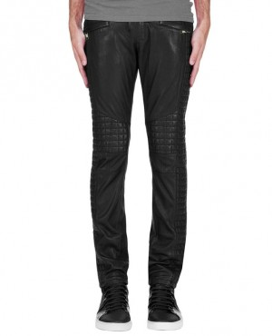 New Fashionable Moto Racer Custom Made Quilted Panel Leather Pant