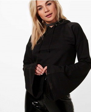 New Fashionable Wide Flute Sleeve Cropped Hoody