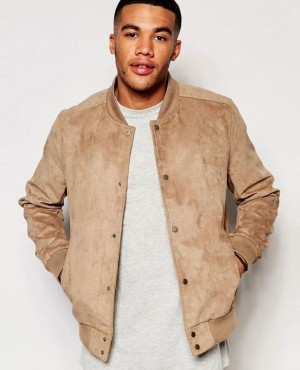 New Look Faux Suede Bomber In Tan