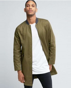New Look Longline Bomber In Khaki Jackets
