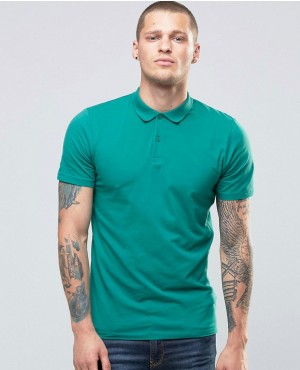 New Look Muscle Fit Polo Shirt In Green