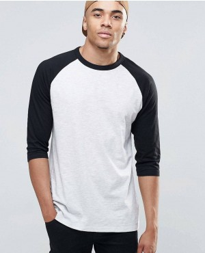 New Look Raglan T-Shirt in Grey And Black With 34 Length Sleeves