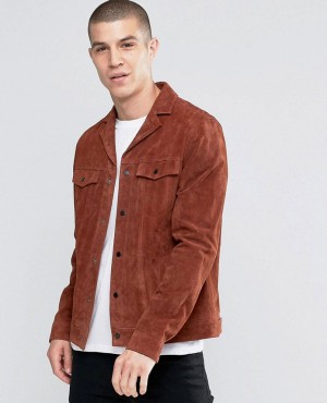 New Look Suede Jacket With Revere Collar In Rust