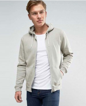 New Look Zip Through Hoodie In Light Green