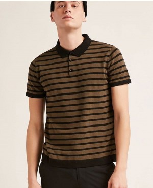 New Popular Short Sleeve Stripes Sweater Knit Polo Shirt