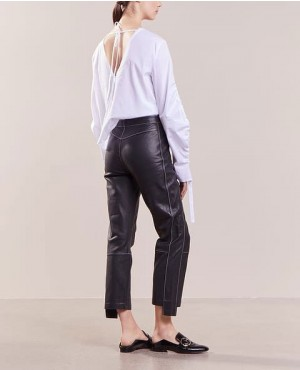 New Skinny Leather Pant with Fly Zipper
