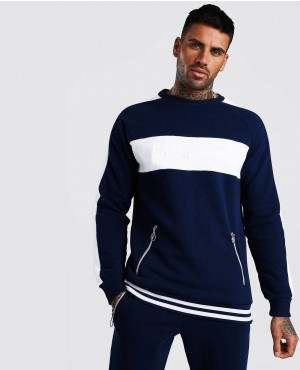 New Style Contrast Panel Tracksuit With Rib