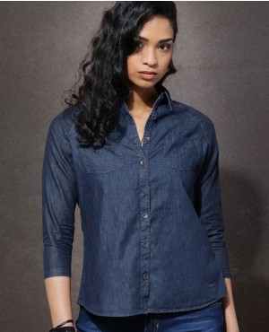 New Style Ladies Fashion Navy Denim Look Shirt