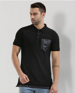 New Stylish Men Side Zip Polo With PU Pocket