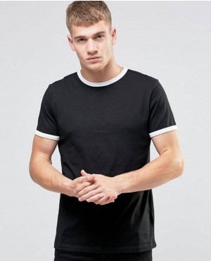 New Stylish Ringer T Shirt In Black