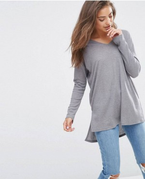 New Top With V Neck In Slouchy Rib