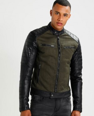 New Wholesale Men High Quality Custom Made Leather Fashion Jacket