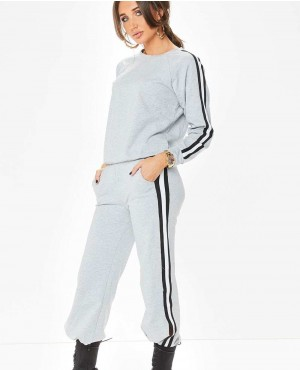 New Women Activewear Sports Grey Side Stripe Tracksuit