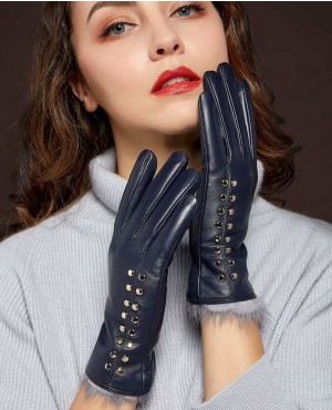 New Women Genuine Sheepskin Leather Gloves Fashion